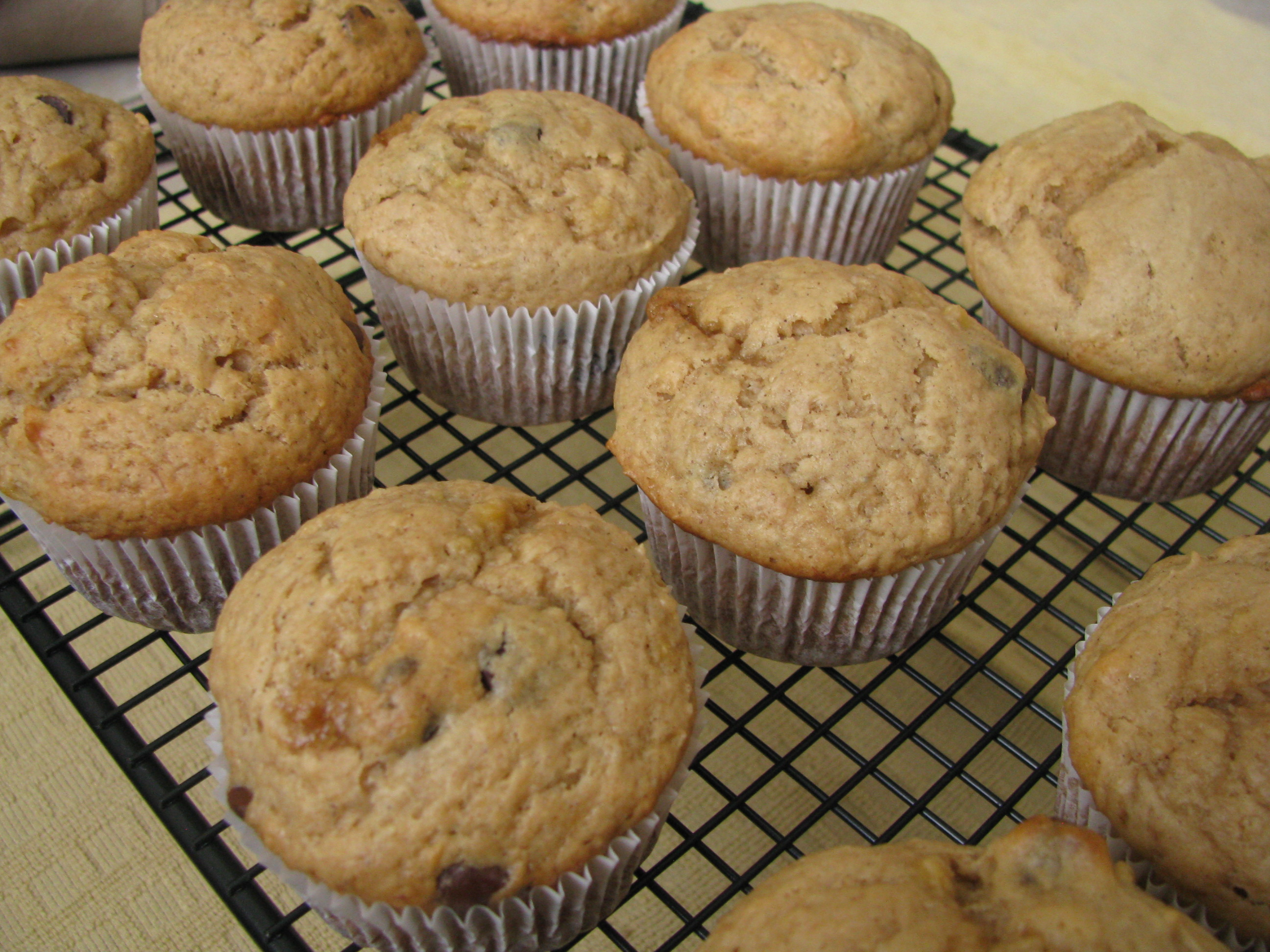 Peanut Butter Banana Chocolate Chip Muffins | Stick a Fork in It