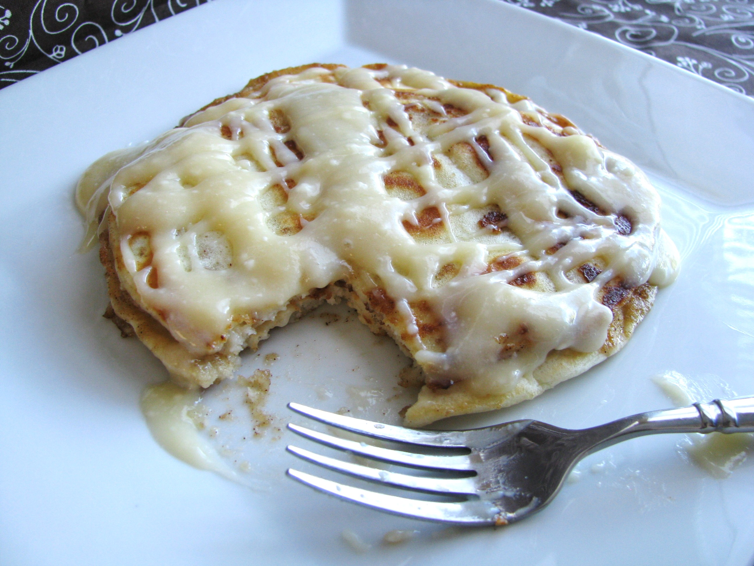 Cinnamon Roll Pancakes | Stick a Fork in It