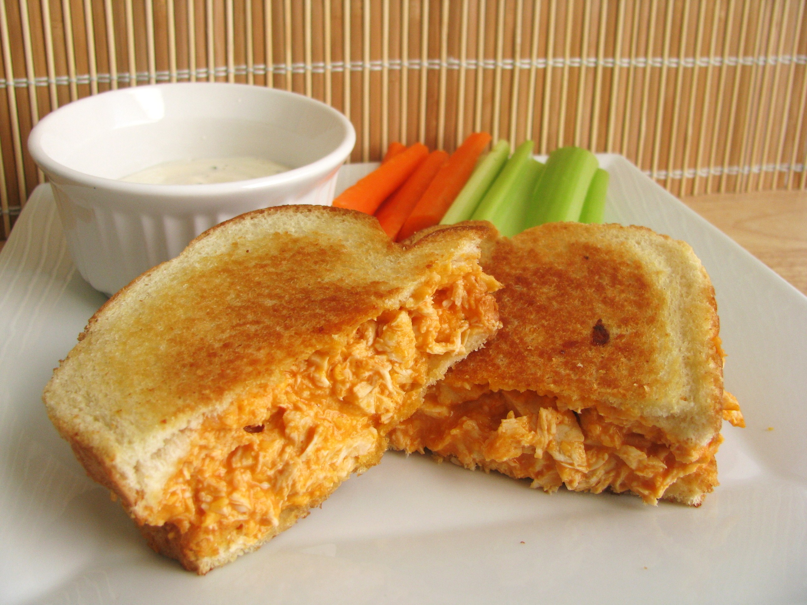 Buffalo chicken grilled cheese sandwich stick a fork in it for Buffalo chicken sandwich recipe grilled